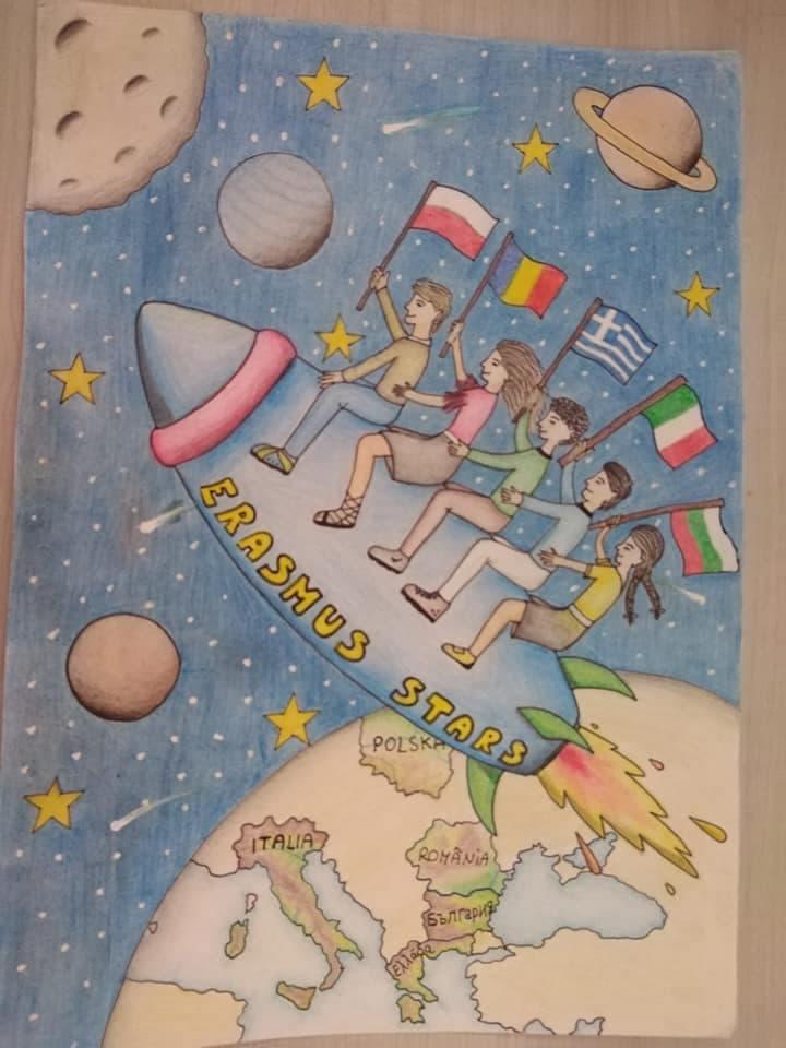"""ERASMUS + """" Students Together Ambitiously reach the Stars""""  Gruppo Erasmus appena giunto a Budapest per meeting e transnational!!!  Il logo del progetto!!! Realizzato dal nostro Istituto"""