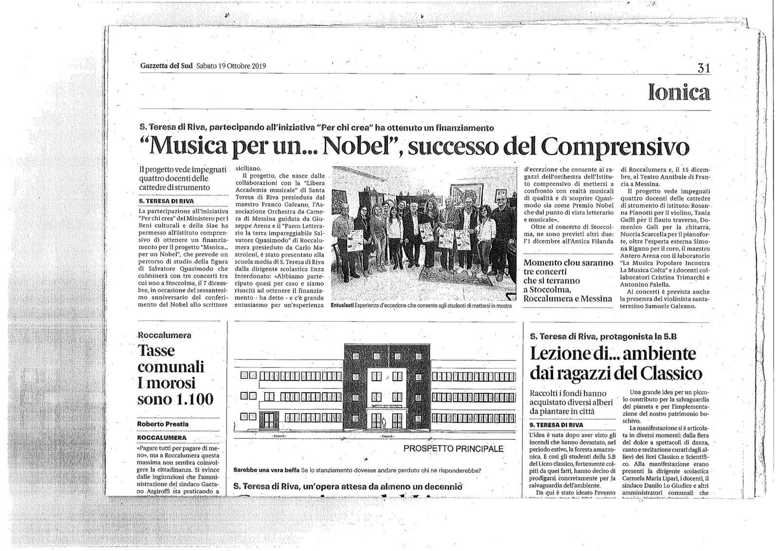 """Articolo""""Ggazetta del Sud  del 19 ottobre"""