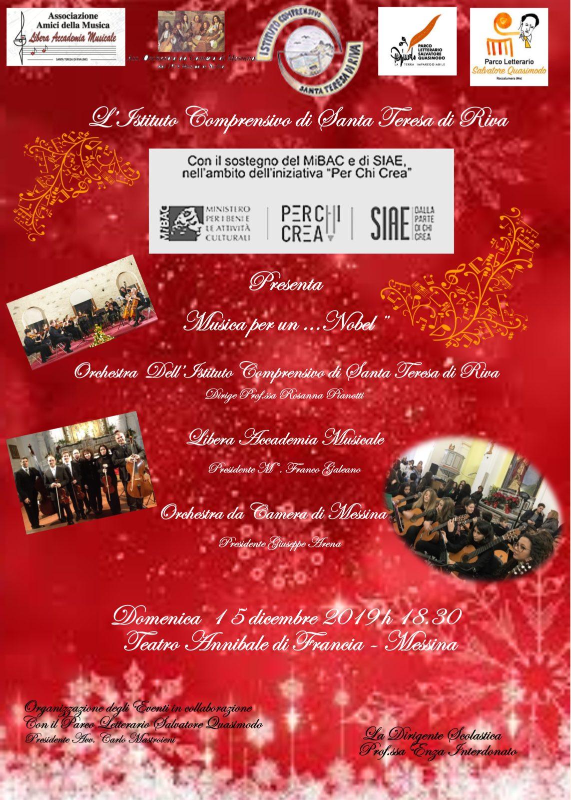 """Manifesto """"Musica per un ...nobel"""" 15 dicembre"""
